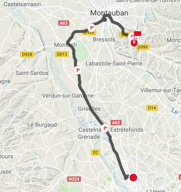 Carte Toulouse Saint Nauphary en passant par Montauban
