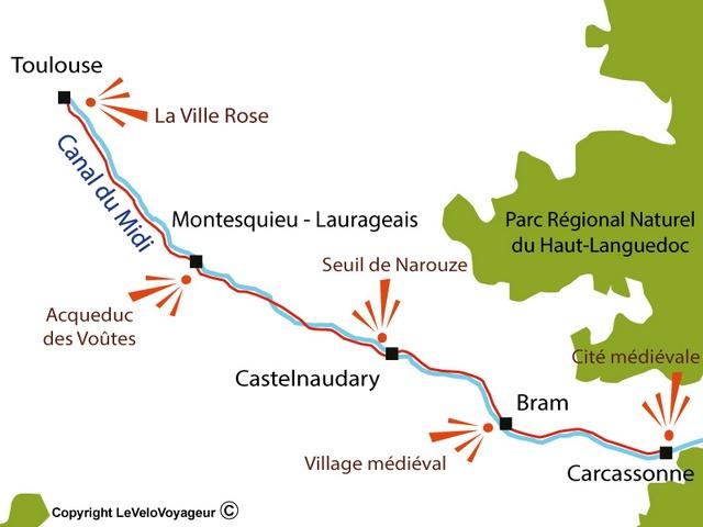 Carte Toulouse Carcassonne par le canal du Midi