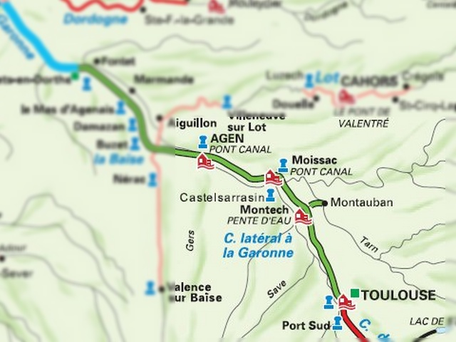 Carte Toulouse Moissac par le canal latéral à la Garonne